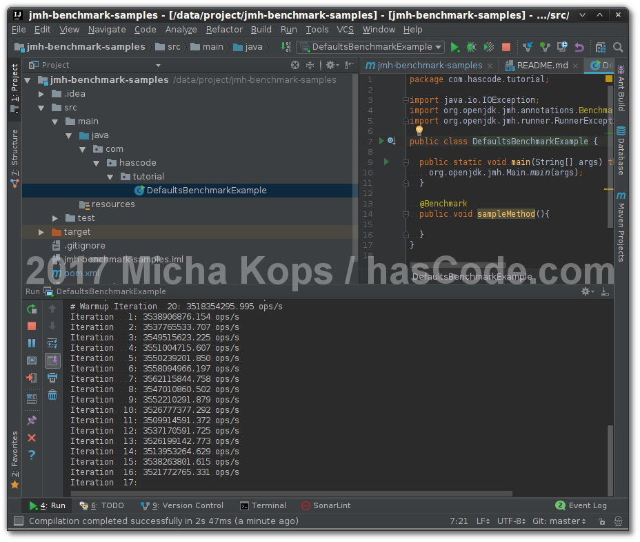 Java JMH Microbenchmarks running in IntelliJ