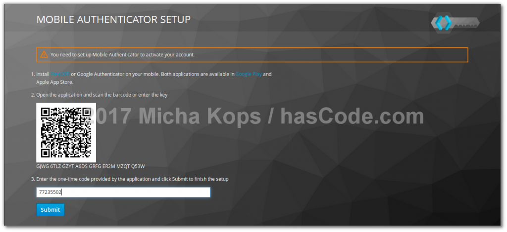 Keycloak - OTP Key Configuration