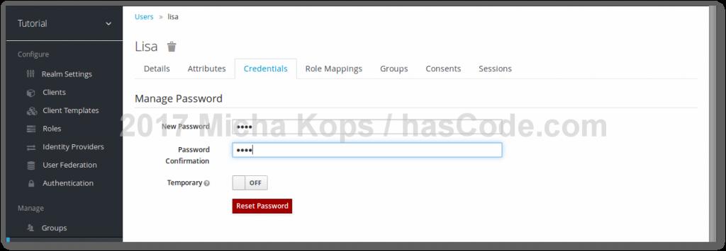 Keycloak - Setting user credentials